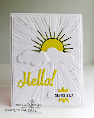 Our Daily Bread Designs Stamp sets: Hello Sunshine, ODBD Custom Dies: Clouds and Raindrop, Hello, Sunburst Background