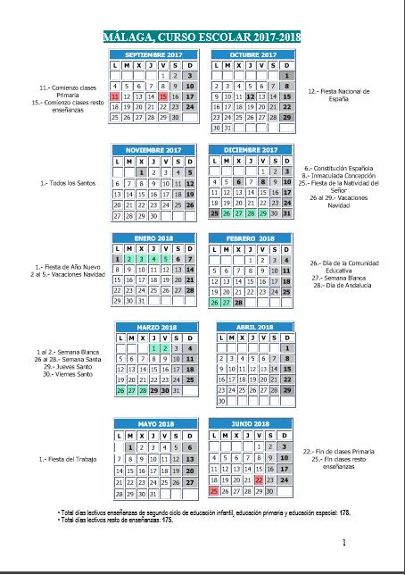 Calendario curso 2017-2018