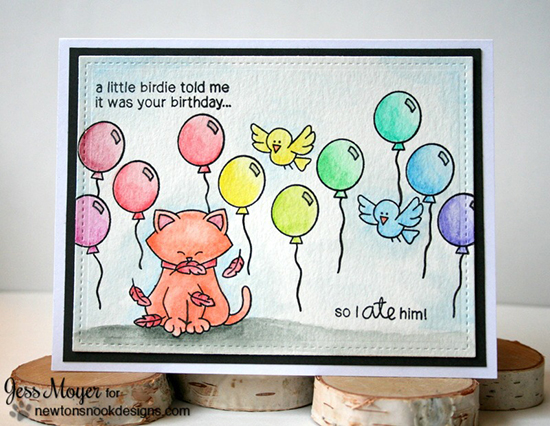 Cat and Bird Birthday Card by Jess Moyer | Newton's Birthday Flutter Stamp set by Newton's Nook Designs