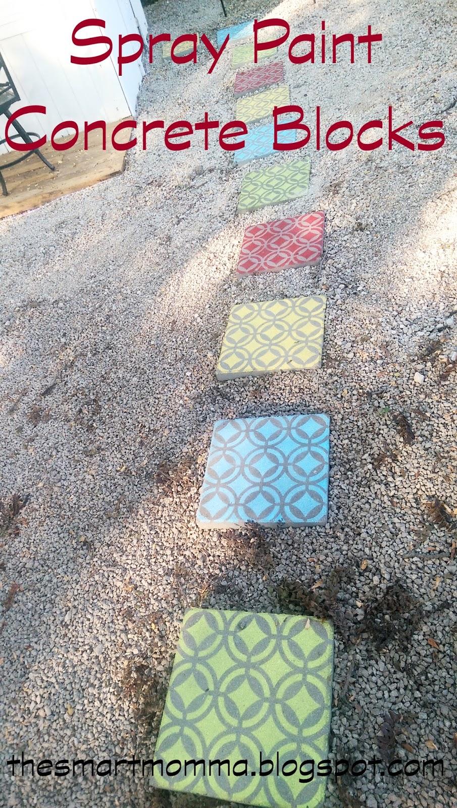 The smart momma spray paint concrete blocks for Painting cinder blocks for garden