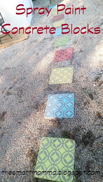 the smart momma spray paint concrete blocks. Black Bedroom Furniture Sets. Home Design Ideas