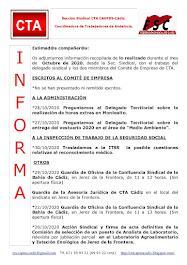 C.T.A. INFORMA, LO REALIZADO EN OCTUBRE DE 2020