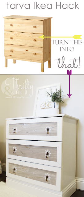 Ikea Tarva hack with cute raised stencil design