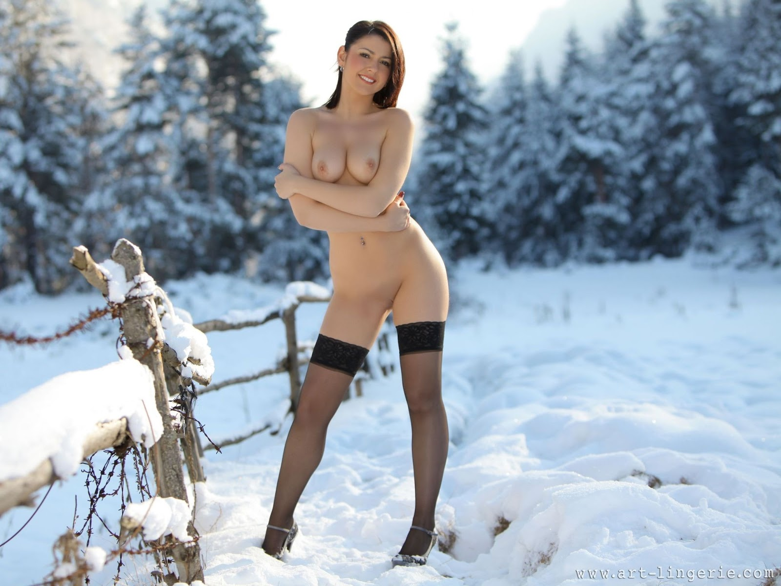 Black Stockings Snow Naked