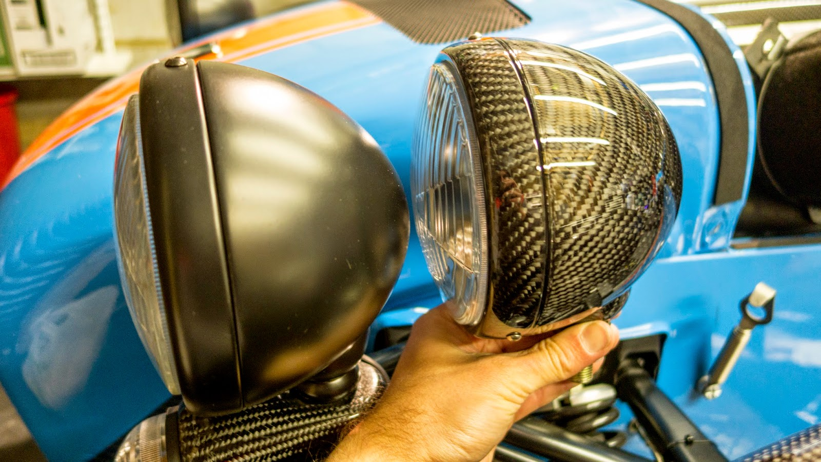 Standard vs Carbon Fibre 5.75 inch Caterham Headlamp Bowls