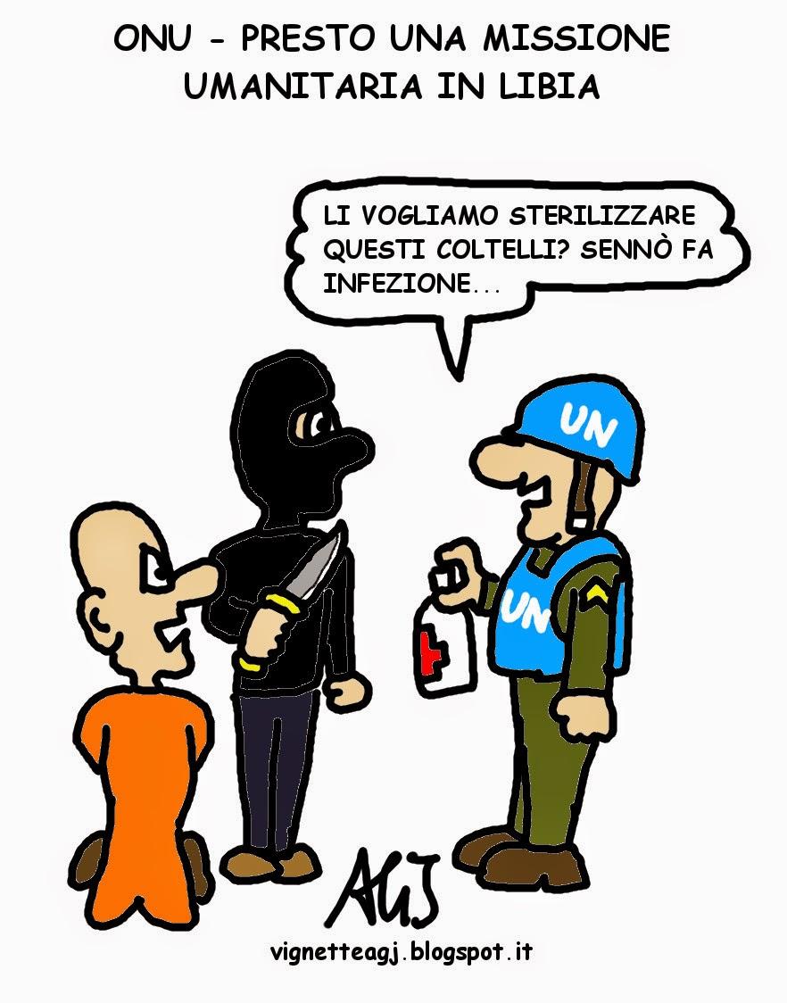 Libia, isis, onu, missione umanitaria, satira , vignetta