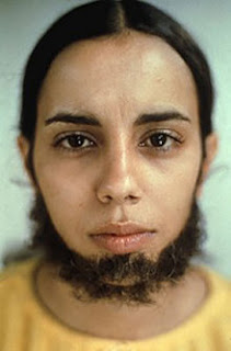 Ana Mendieta, self portrait. Detailed description follows in caption.