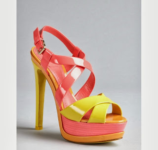 Christian Dior  Hot Pink And Neon Yellow Patent Leather Peep Toe Platform Sandals, $950