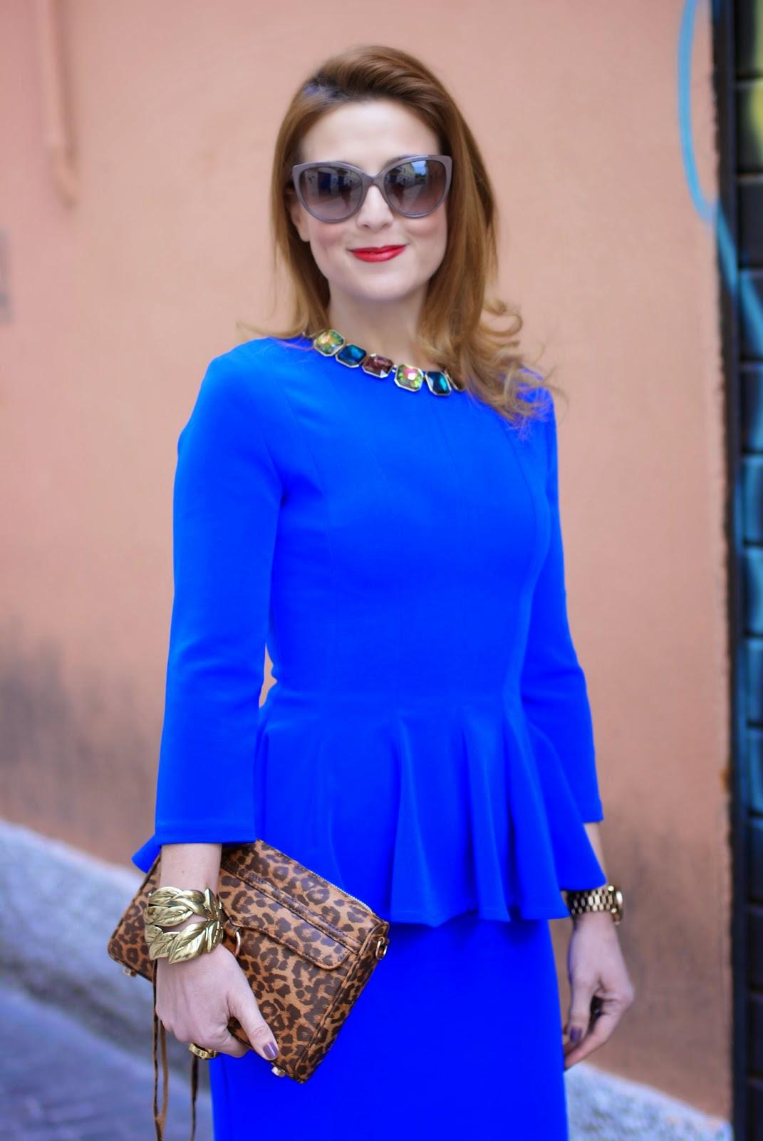 Isabel Garcia peplum dress with midi skirt, Rebecca Minkoff mini MAC clutch in leopard, Fashion and Cookies fashion blog, fashion blogger