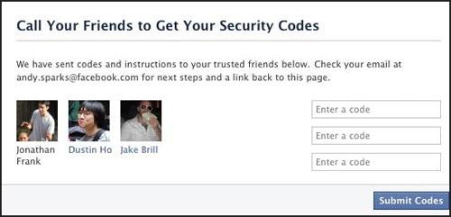 nhờ bạn bè Facebook giúp lấy lại password