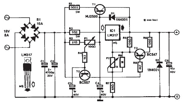 lm317 based dc motor speed controller with circuit