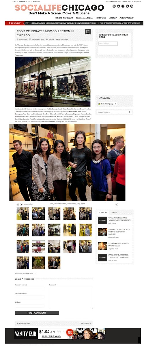 SocialifeChicago Celebrates Tod's new collection with Fashion Junkie