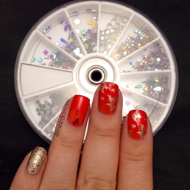 bornprettystore 250pcs colorful stud rhinestones item 16081 autumn leaves nails