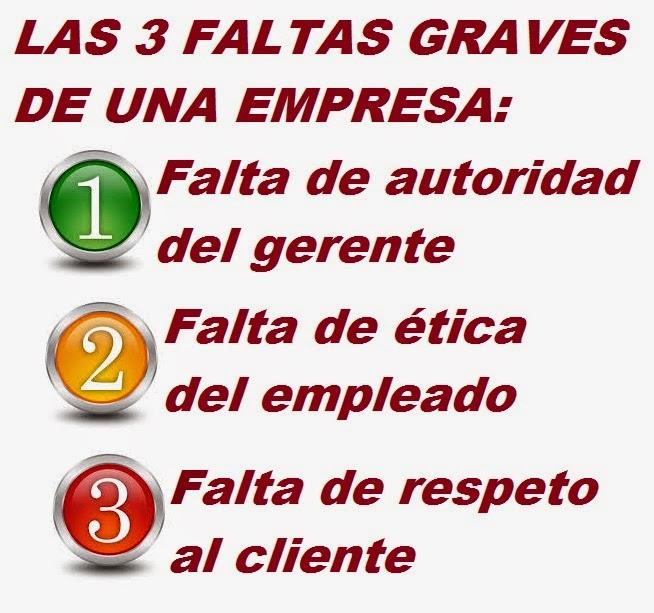 las tres faltas graves de una empresa.jpg____Www.cosasycasosdehotelesyrestaurantes.blogspot.com