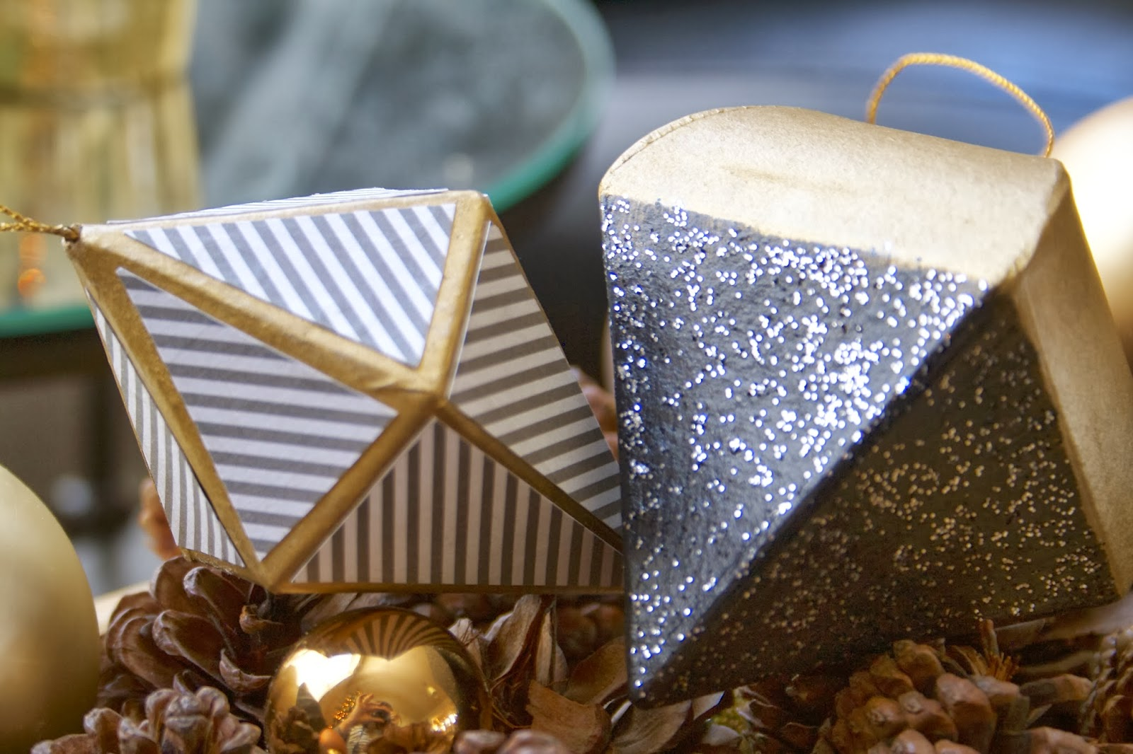 Paper mache ornaments - I Bought My Paper Mache Ornaments At Michaels Craft Store For Less Than 50 Cents Each The Paint Glitter Paint Rub N Buff And Paper Totaled Around Around