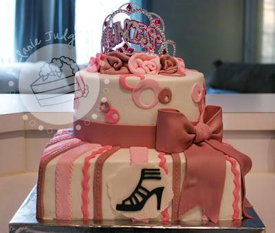 princess cake silhouette stiletto tiara pink