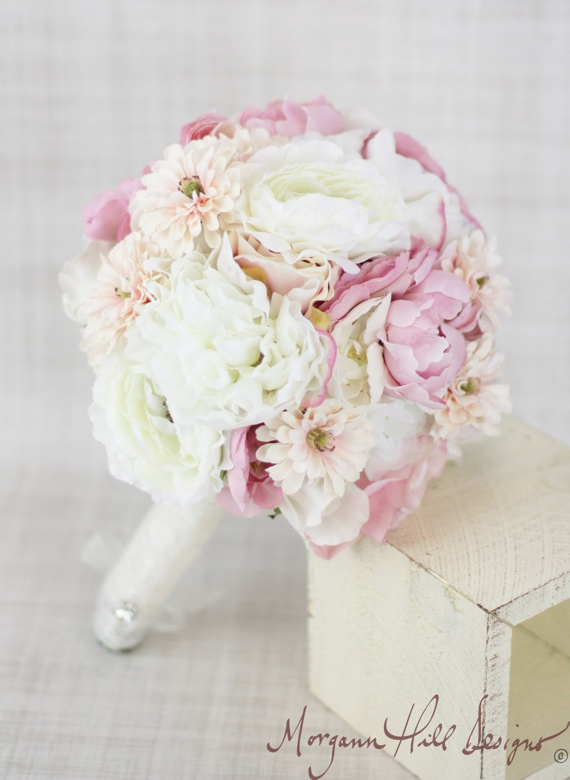 Morgann Hill Designs Silk Bride Bouquet Peony Peonies Roses Ranunculus Daisi