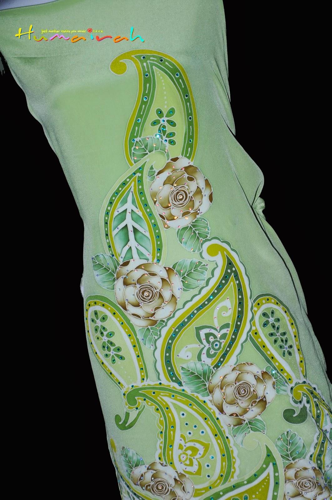CX82 Batik Sutera Exclusive - Green Paisley Siap Batu Handmade 4