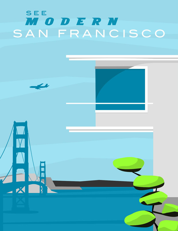 forgotten modernism, michael murphy,san francisco,illustration,ilustraciones, US, united States, Estados Unidos,pink,green,blue, pastel colors, rosa,verde,azul,mar,sea,building, air plane,avion,edificio,arquitectura,puente,bridge