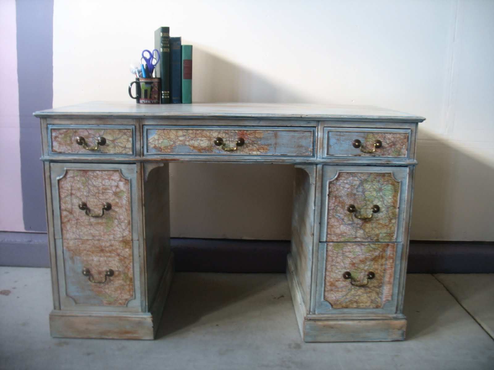Map desk 28 images world map desk roundtripticket me vintage shabby redo for you desk with map decoupage gumiabroncs Gallery