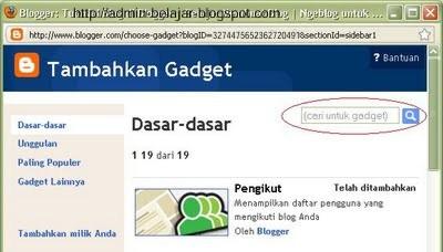 Cara Menggunakan dan Mengenal Gadget di Blogger-Blogspot