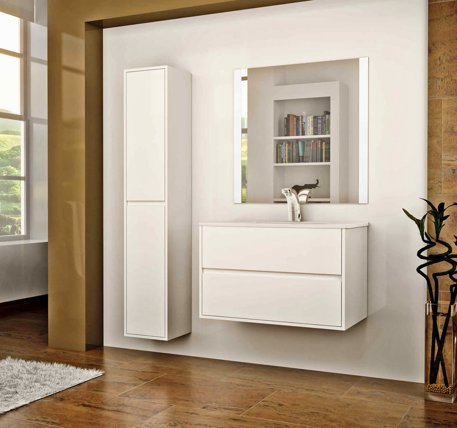 Mueble ba o gris perla for Color de pared para muebles blancos