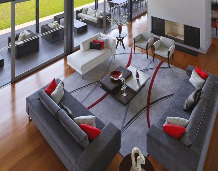 Salas en color gris y rojo salas con estilo for Comedor negro con gris