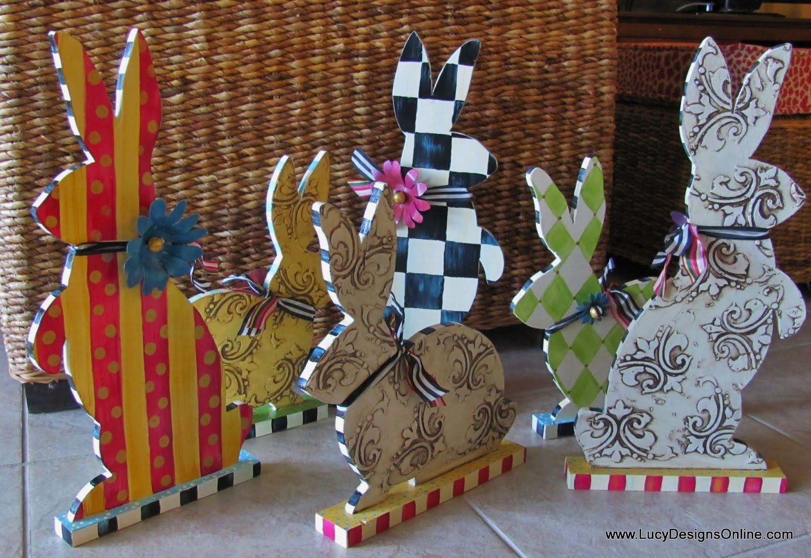 hand painted rabbit sculptures