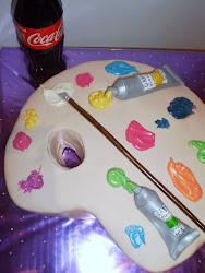 tarta con forma de paleta de pintor