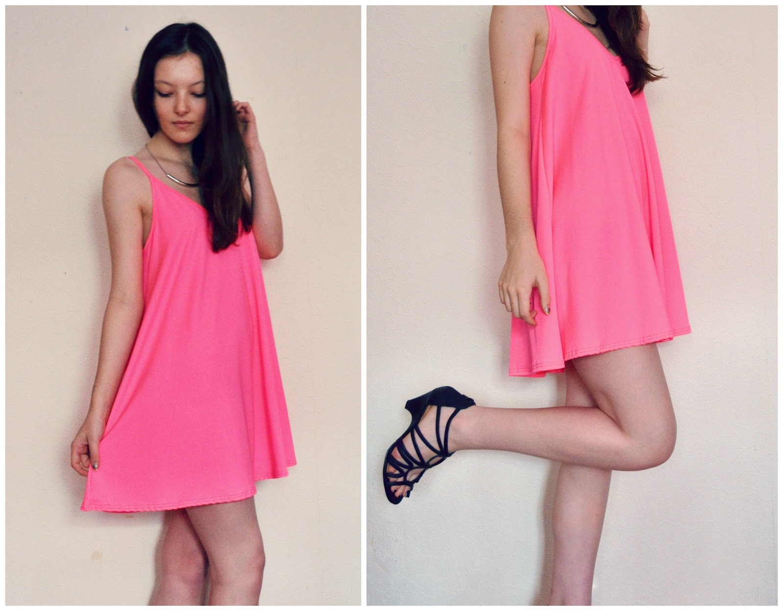 Vantage fashion neon pink swing dress