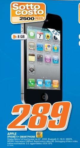 Nuova e interessante offerta per gli appassionati Apple sull'iPhone 4 venduto al prezzo sottocosto di 289 euro da Saturn
