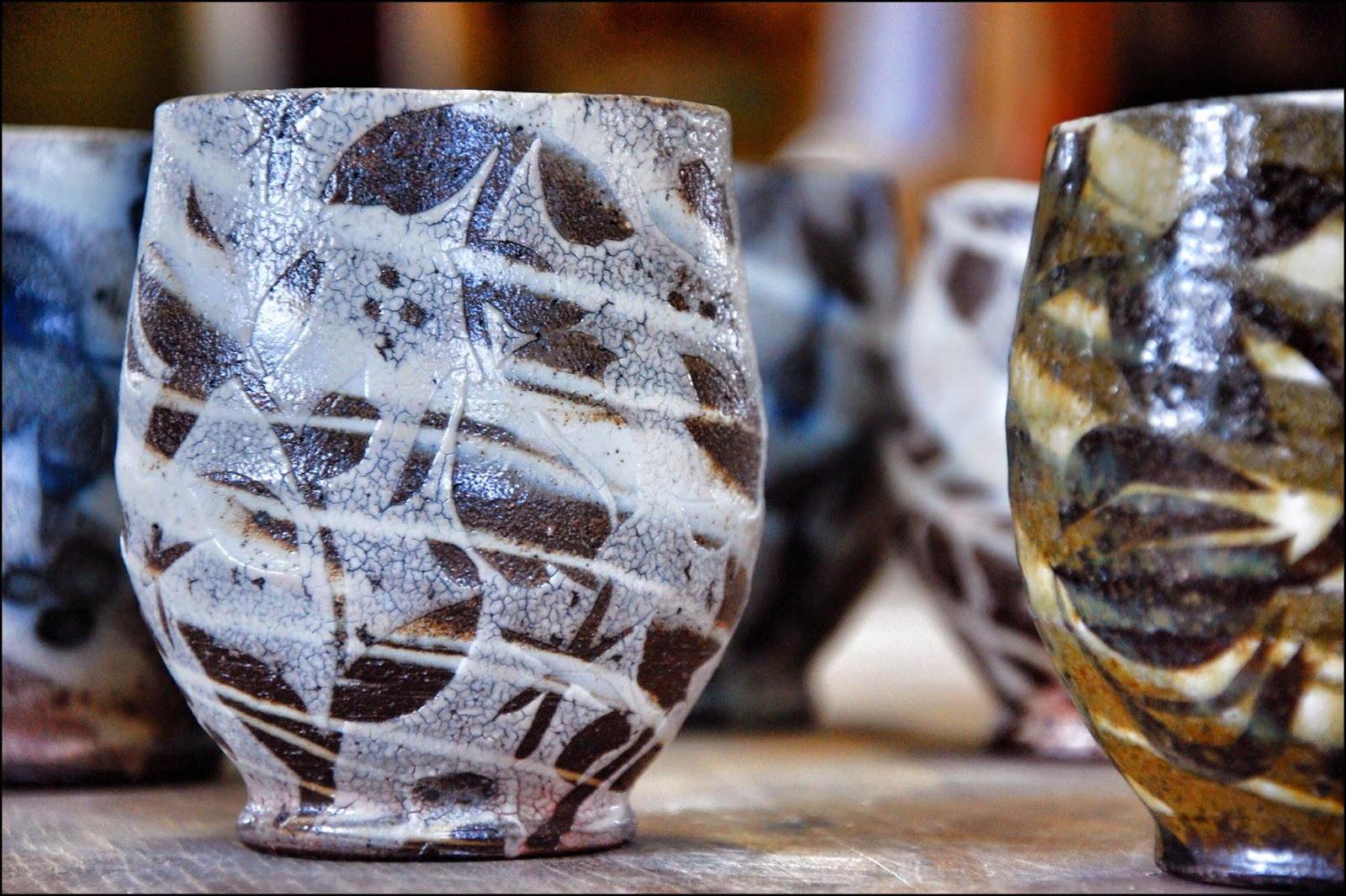 yunomi cups for AKAR Design annual yunomi show swirlware decorated pottery