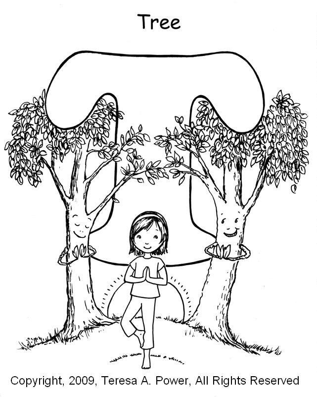 Coloring Pages For Yoga : Yoga for kids arbor day and the tree pose