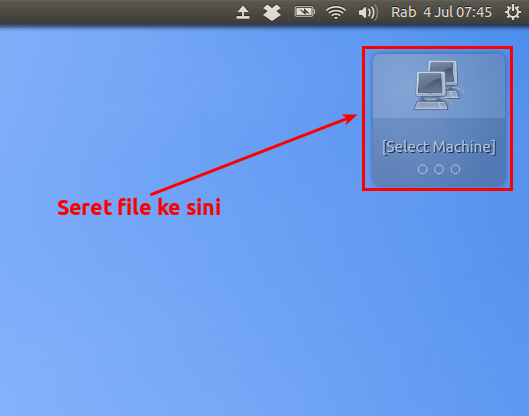 Seret file ke widget Nitroshare