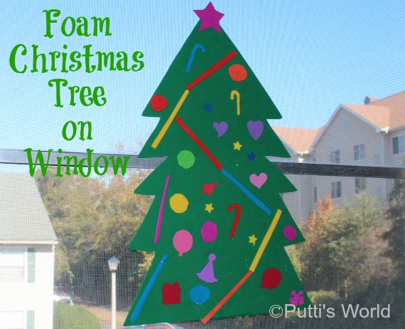 Foam christmas tree on window putti 39 s world kids activities for Foam sheet christmas crafts