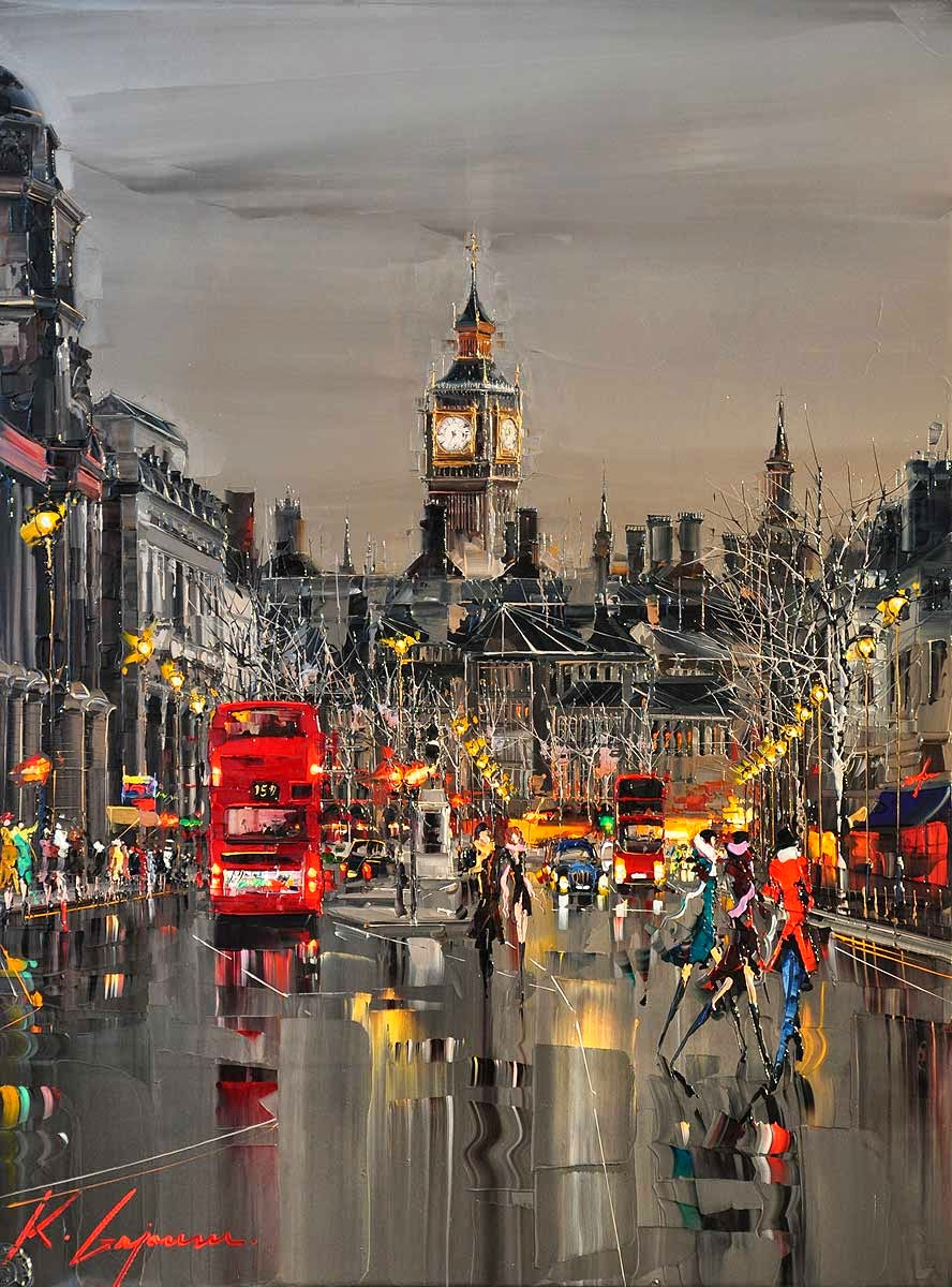 34-Whitehall-London-Kal-Gajoum-Paintings-of-Dream-Like Cities-of-the-World-www-designstack-co