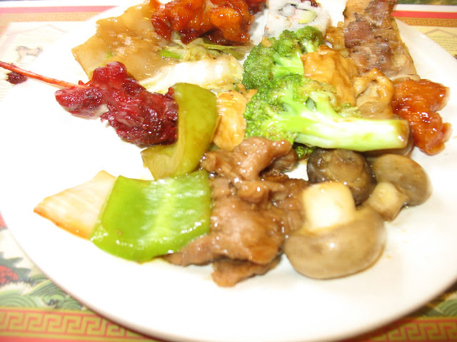 Pepper Steak, Mushrooms, Chicken and Broccoli, Teriyaki Chicken, Sushi too!