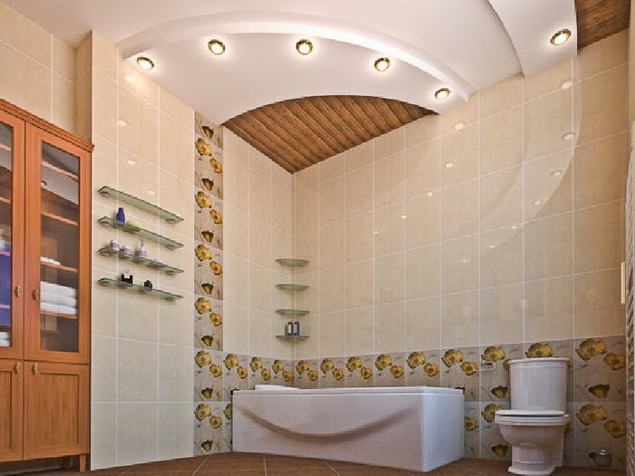 Latest tips for false ceiling designs for bathroom interior with spot lights