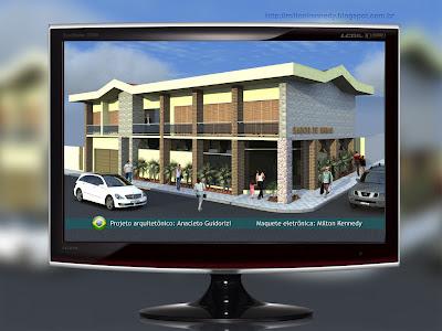 Maquete virtual eletrônica perspectiva computadorizada
