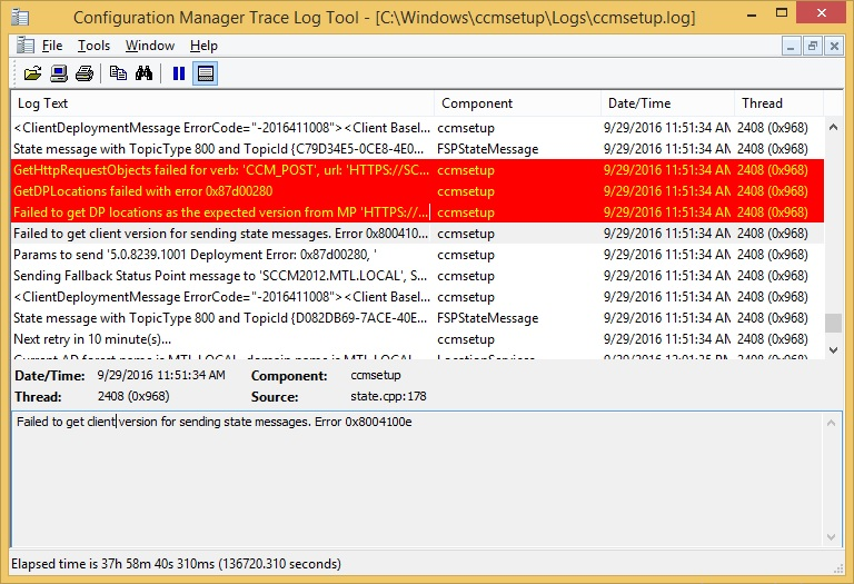 Here is the error message reported on sccm server