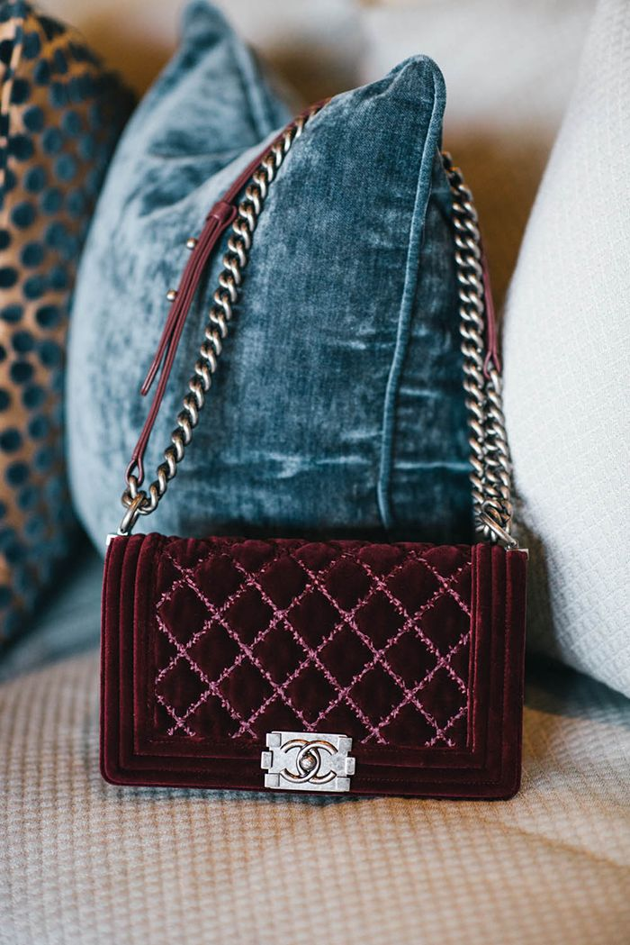 chanel boy bag red velvet