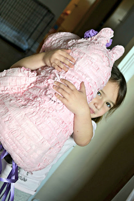 4 year old birthday party, pull string pinata, no hit pinata, pinata fillers, hippo pinata, Birthday Express pinata,