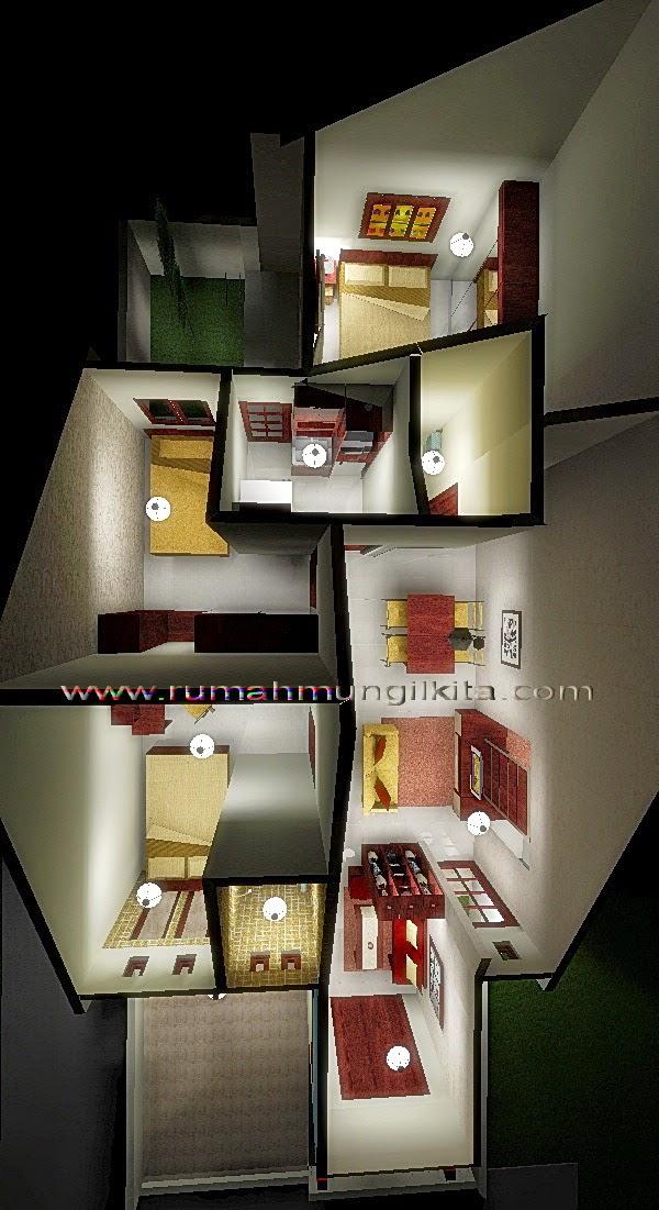 Penataan Rumah Hasil Renovasi II Tipe 48 Tanah 93 m2 (1 lantai, 3 kamar tidur, 2 kamar mandi)