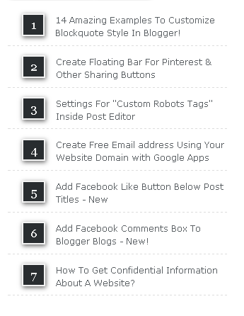 Stylish Popular Posts Widget With Numbering For Blogger
