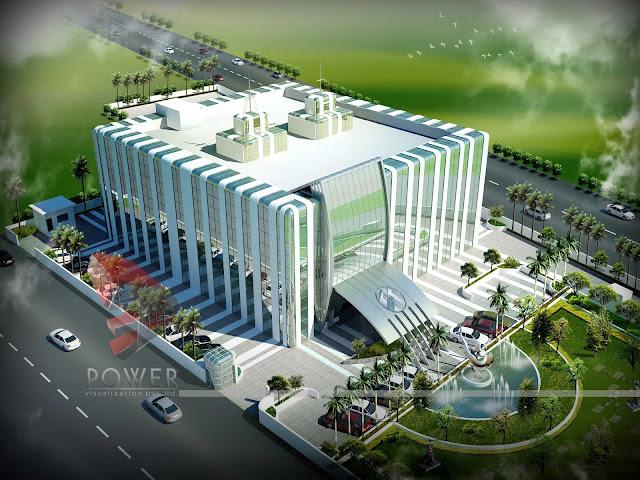 Modern Hospital Exterior,3d rendering