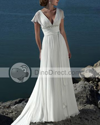 Backless Dress on 16   Chiffon Backless V Neck Wedding Dresses Gown