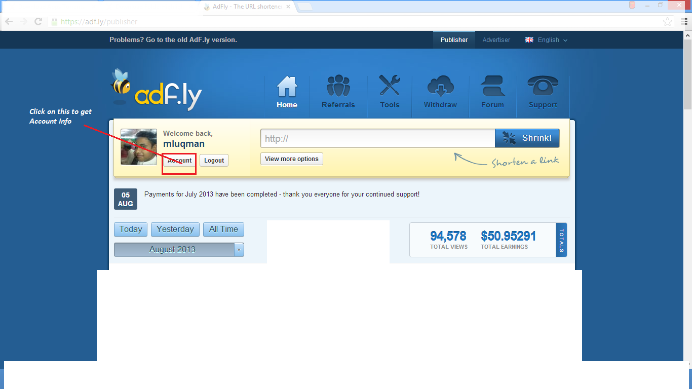 Adfly Shrink Your Urls And Get Paid Home Design Idea