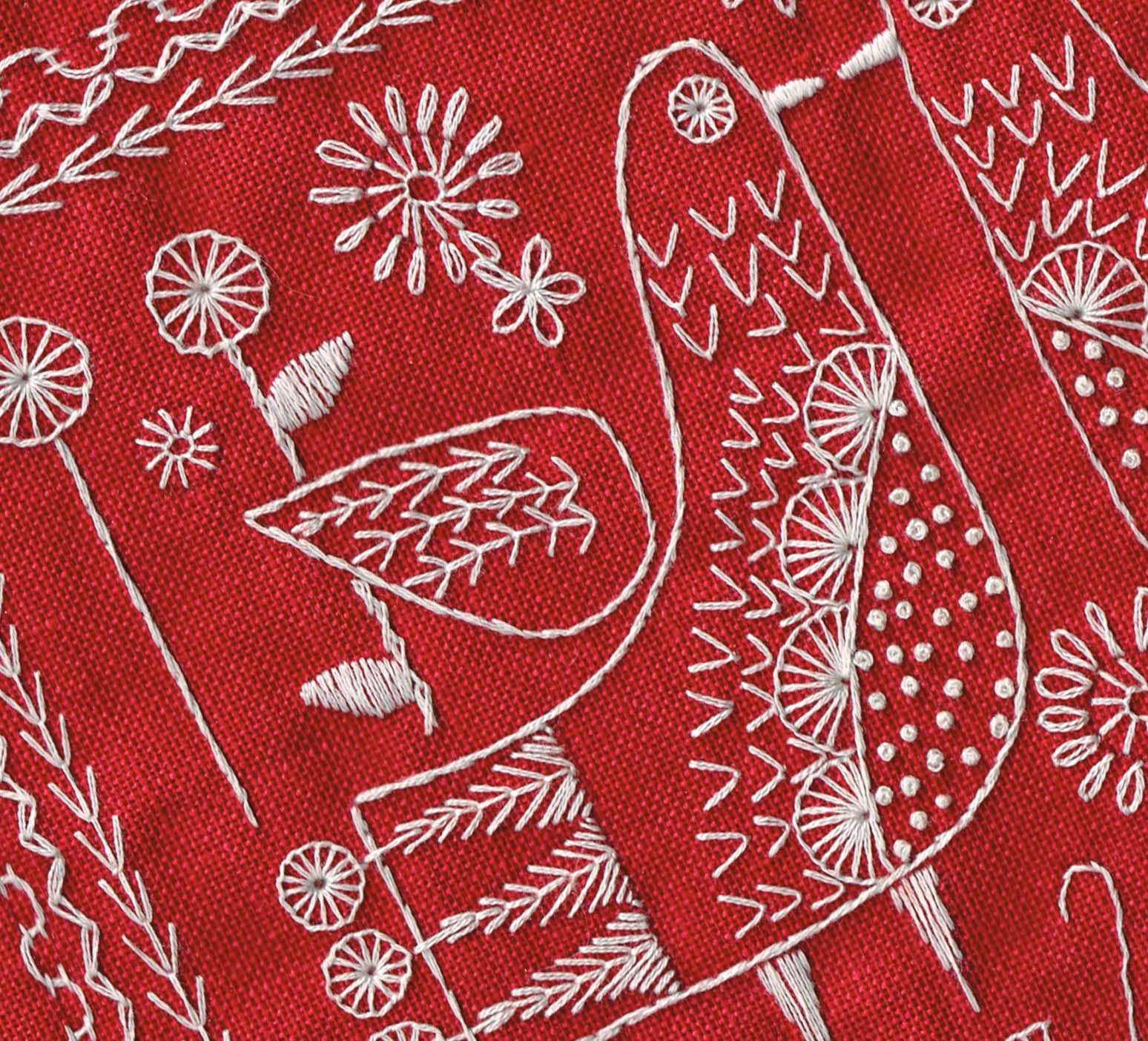 Sampler 2014 worked in white on red linen