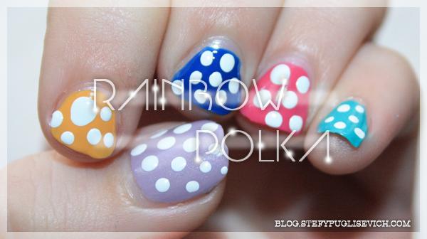 nails rainbow polka dots stefy