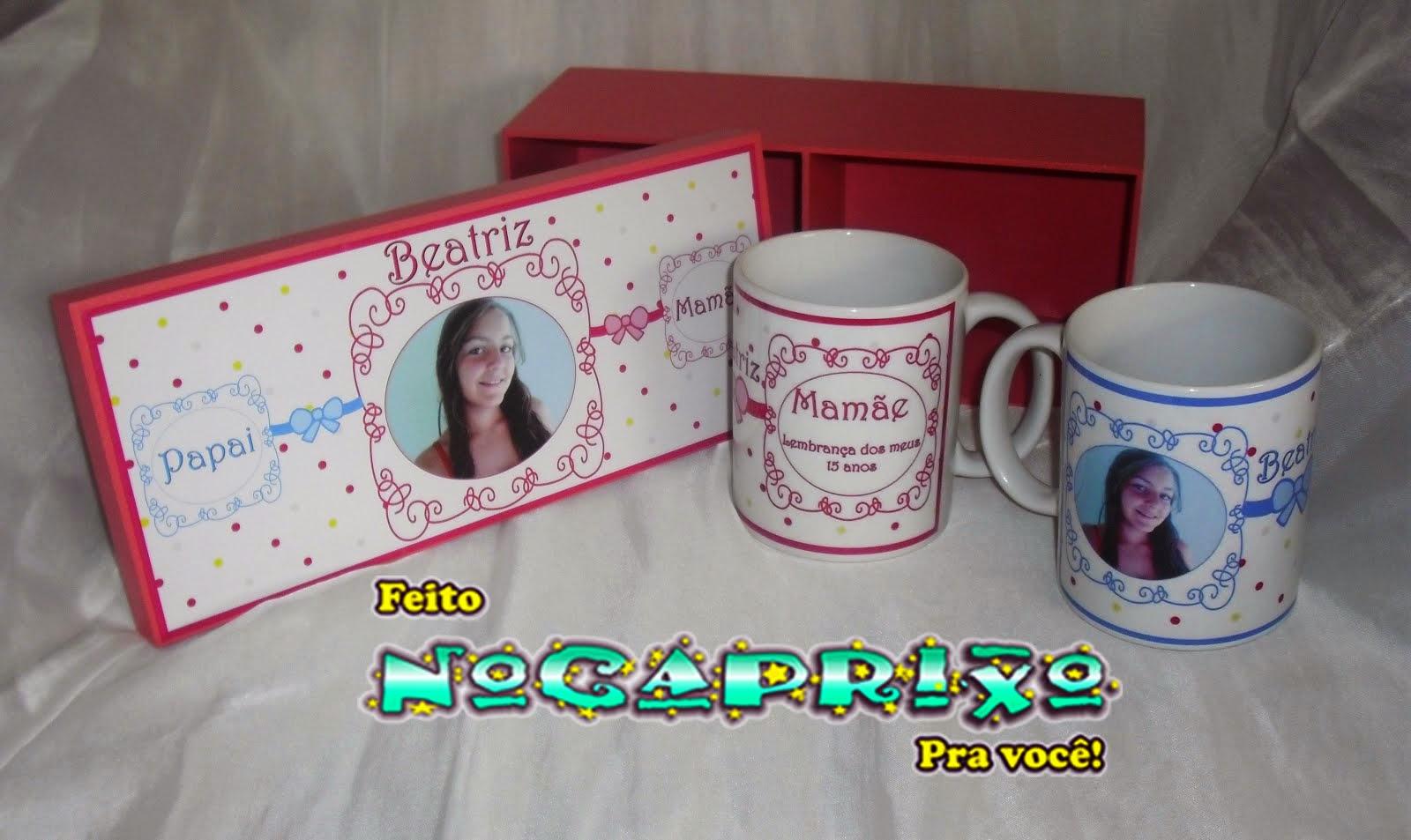 Caixa em MDF e Canecas Personalizadas - Lembrança 15 Anos
